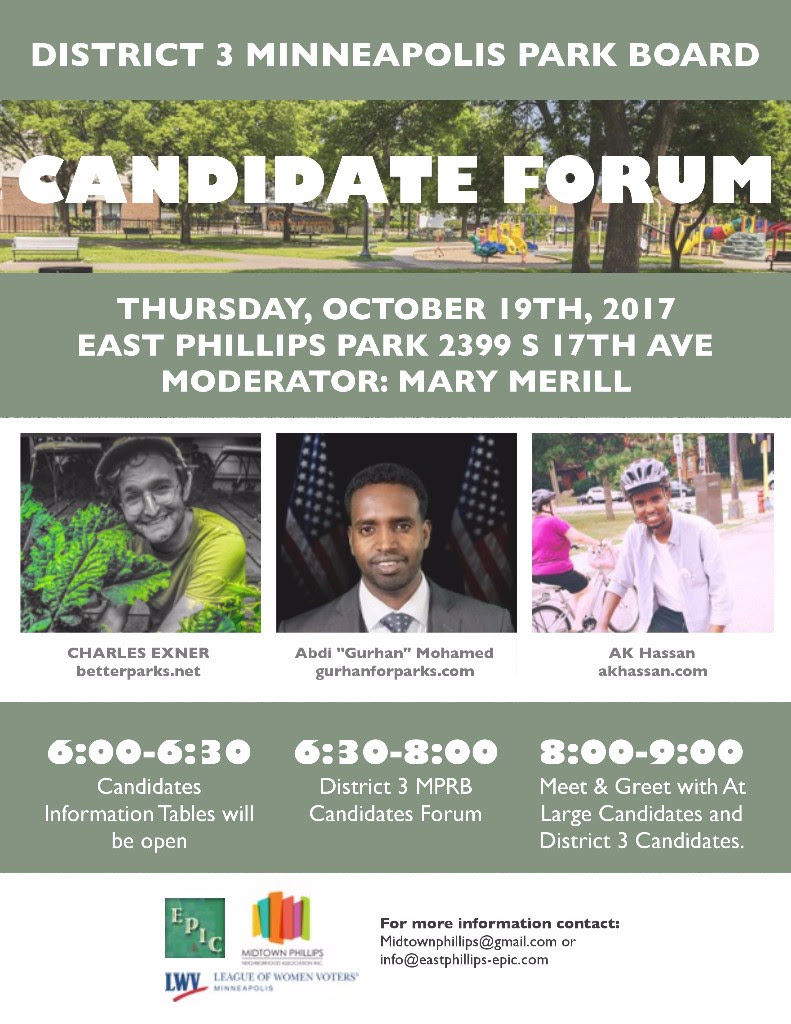 Park Board Candidate's Forum September 19!