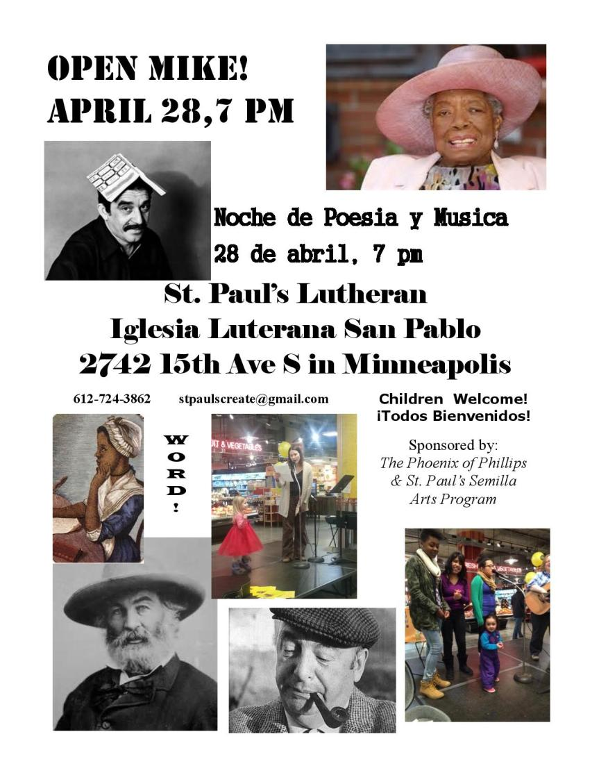 Open Mike on April 28 @ St. Paul's ELCA!